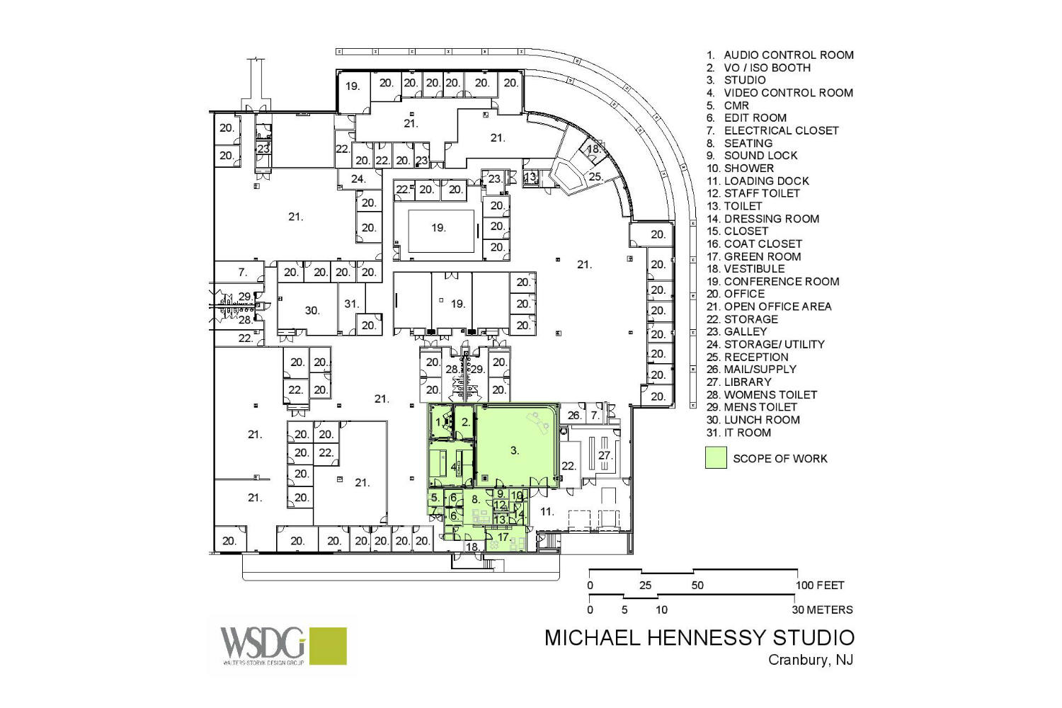 MJH Studios in NJ, designed by WSDG, is a world-class recording and production facility for the main use of creating audio and video healthcare-related content by MJH for their clients. Presentation Drawing 2