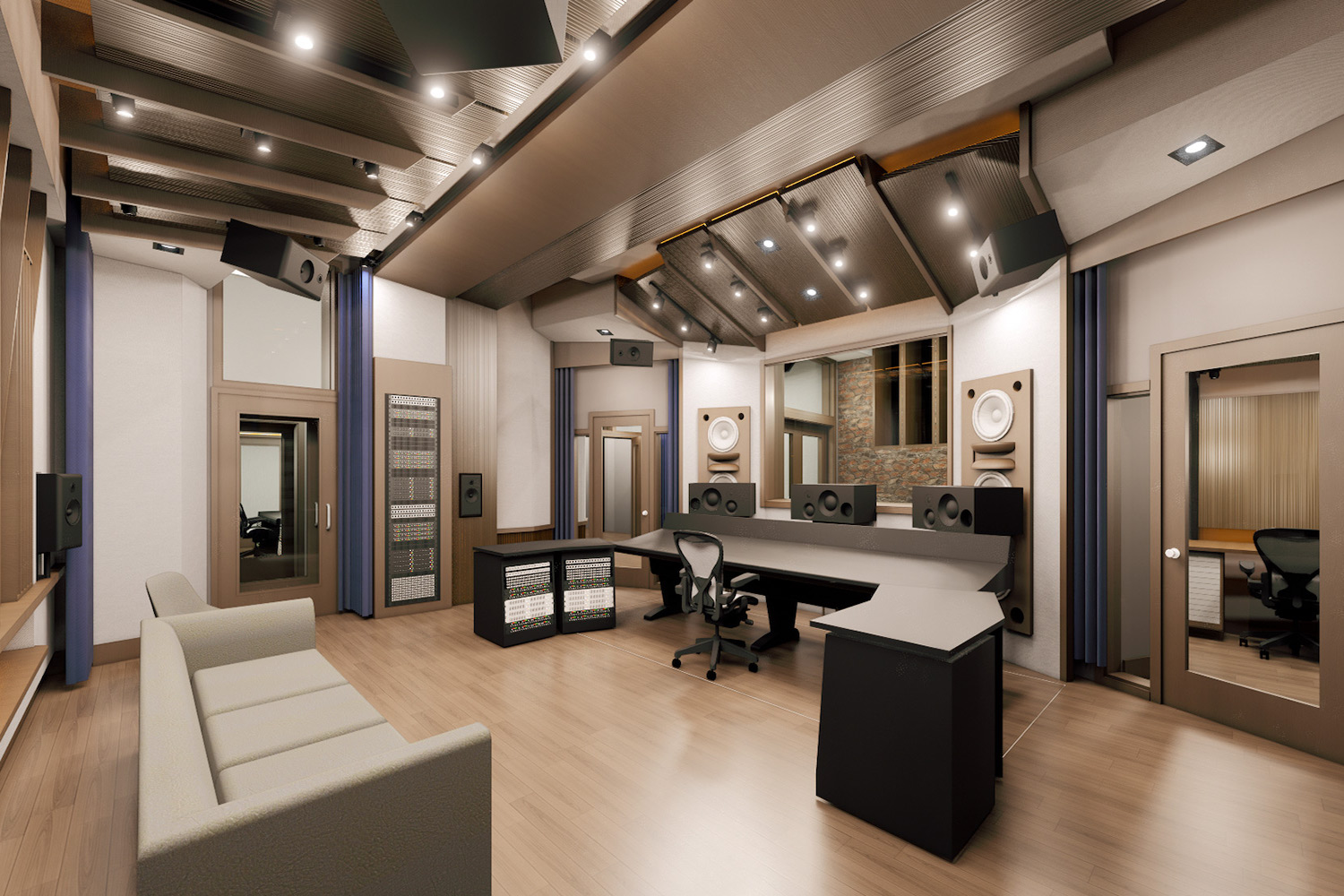 Mix with the Masters hired WSDG for the acoustic design and systems integration of their new recording studio complex in Paris, France. Control Room A.