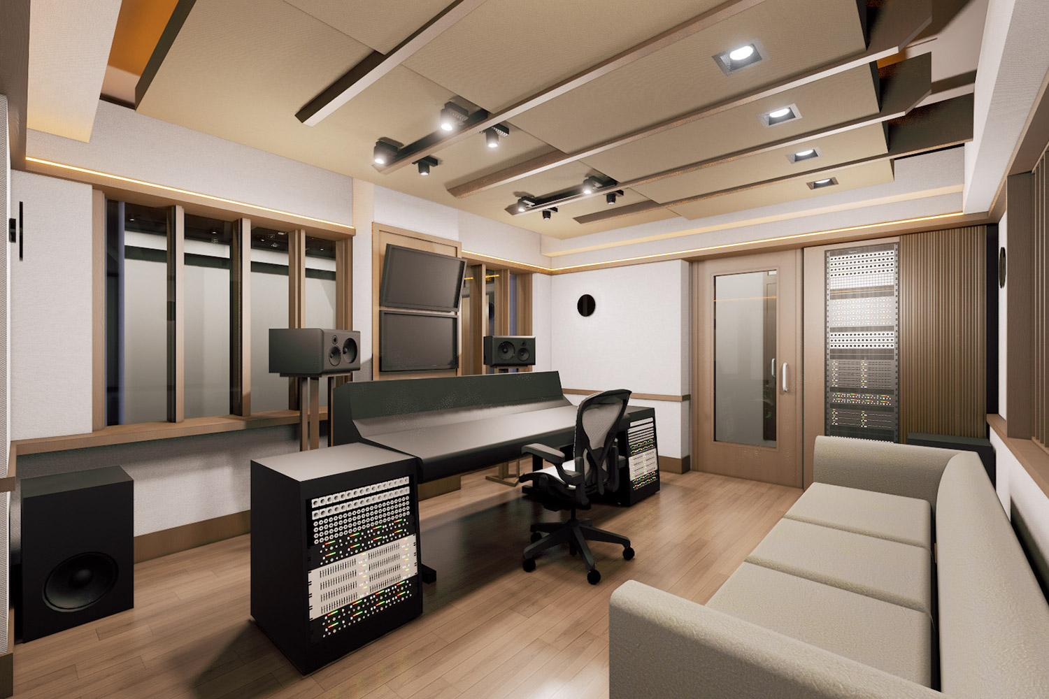 Mix with the Masters hired WSDG for the acoustic design and systems integration of their new recording studio complex in Paris, France. Control Room B.