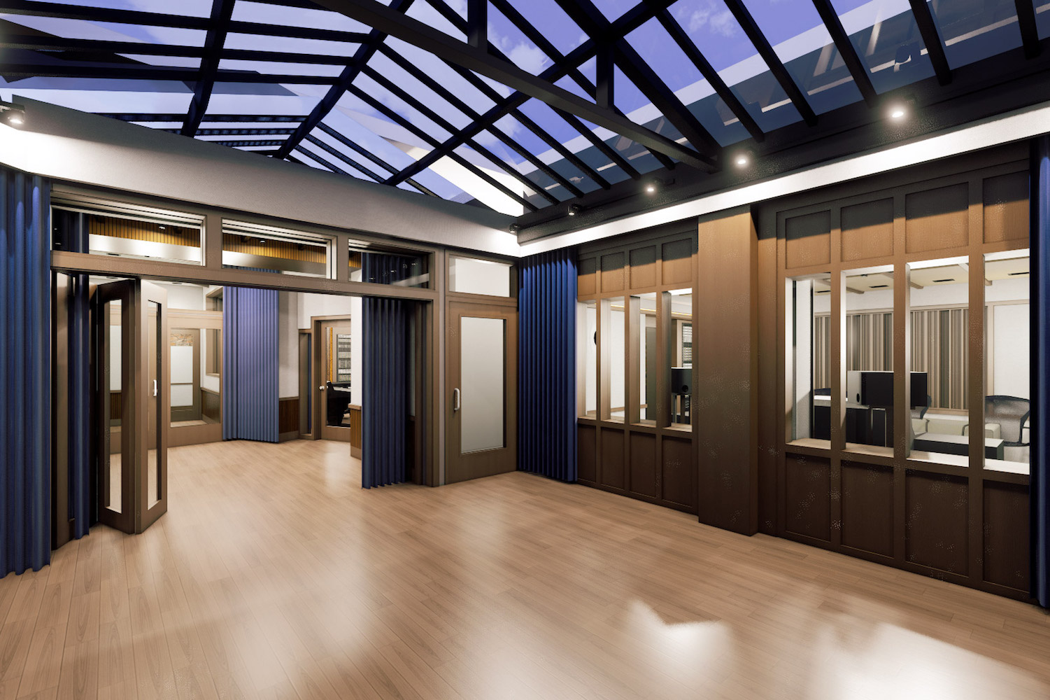 Mix with the Masters hired WSDG for the acoustic design and systems integration of their new recording studio complex in Paris, France. Lounge.
