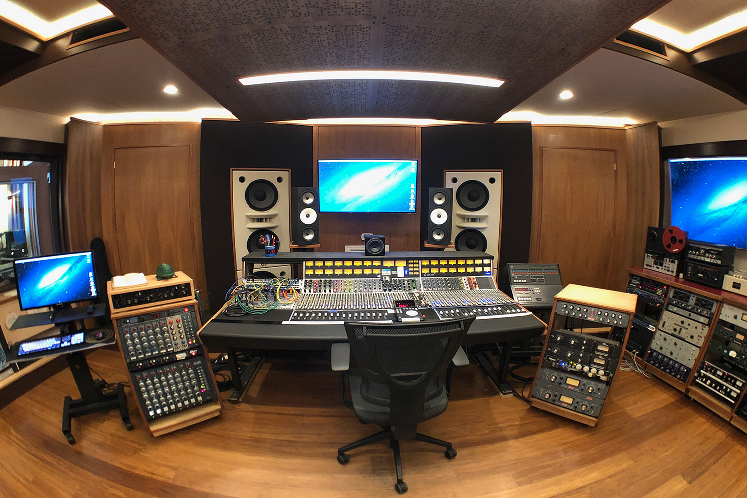 Gear guru studio owner PK Pandey Mad Oak Studios. Beautiful Control Room with Symphonic Acoustics custom speakers. WSDG was the only recording studio design firm considered for this project. Control Room front view.