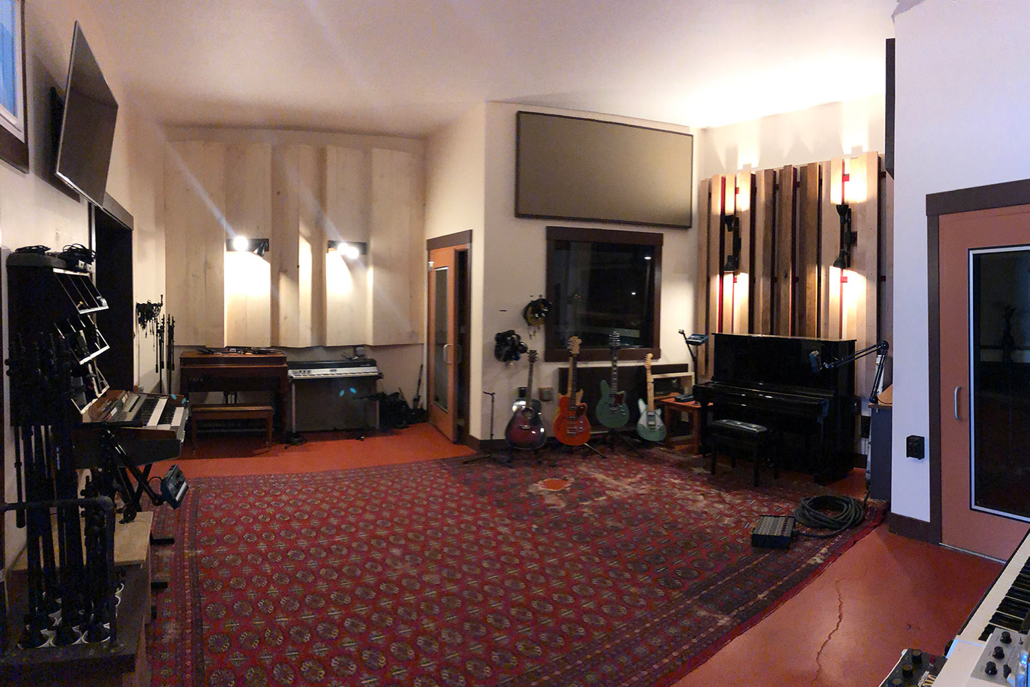 Gear guru studio owner PK Pandey Mad Oak Studios. Beautiful Control Room with Symphonic Acoustics custom speakers. WSDG was the only recording studio design firm considered for this project. Live room.