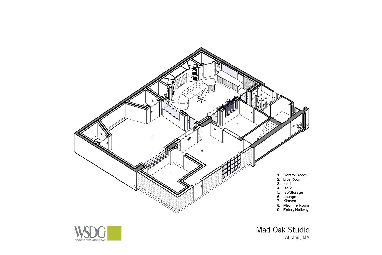Gear guru studio owner PK Pandey Mad Oak Studios. Beautiful Control Room with Symphonic Acoustics custom speakers. WSDG was the only recording studio design firm considered for this project. Axonometric view.