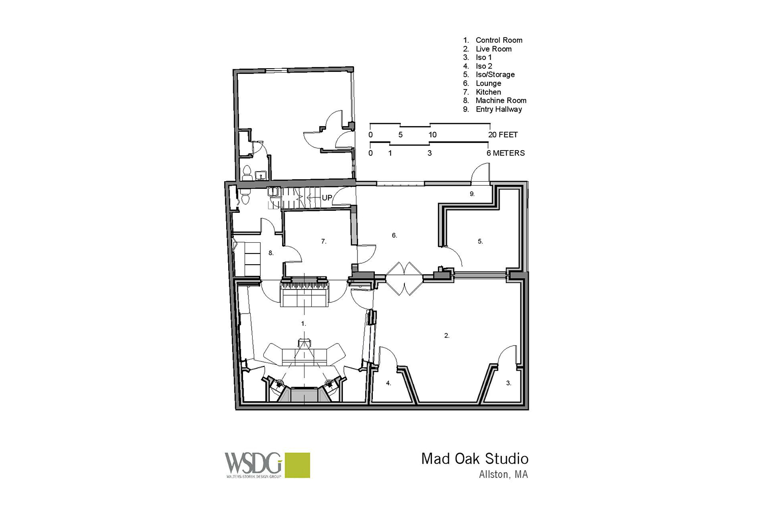 Gear guru studio owner PK Pandey Mad Oak Studios. Beautiful Control Room with Symphonic Acoustics custom speakers. WSDG was the only recording studio design firm considered for this project. Presentation drawing 1.