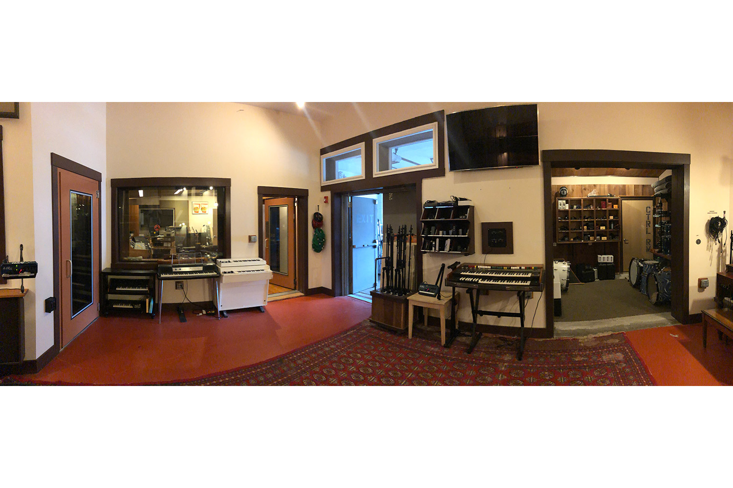 Gear guru studio owner PK Pandey Mad Oak Studios. Beautiful Control Room with Symphonic Acoustics custom speakers. WSDG was the only recording studio design firm considered for this project. Live Room panoramic.