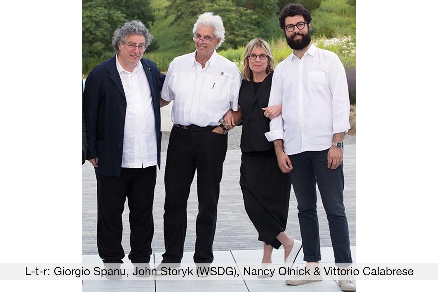 Magazzino Italian Art Giorgio Spanu, Nancy Olnick and Vittorio Calabrese with legendary acoustician John Storyk, WSDG Founder.