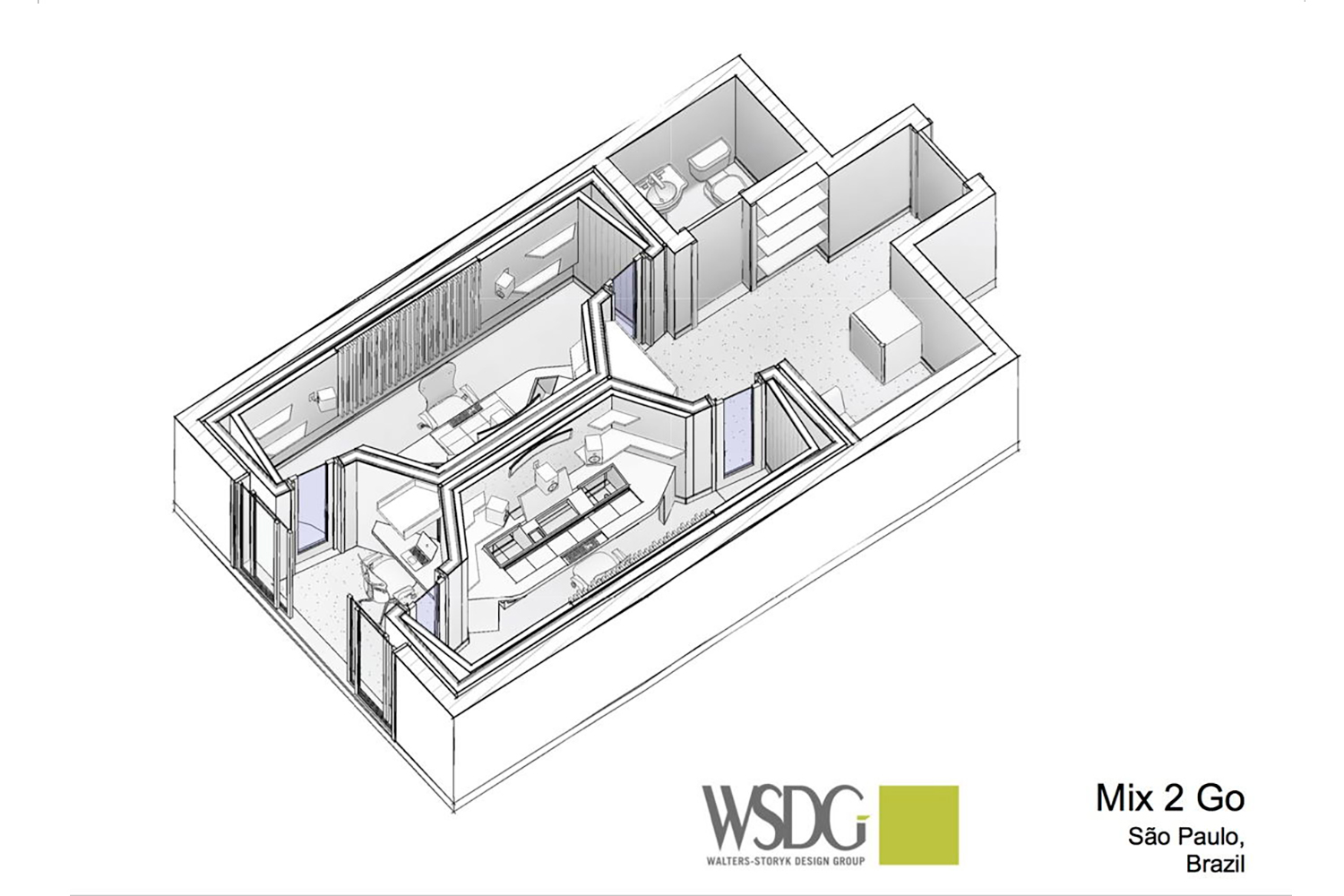 Mix2go is located in Sao Paulo, Brazil and is an innovative 3D mixing facility. WSDG was commissioned to design a space where 3D mixes audio could be created. Presentation Drawing.