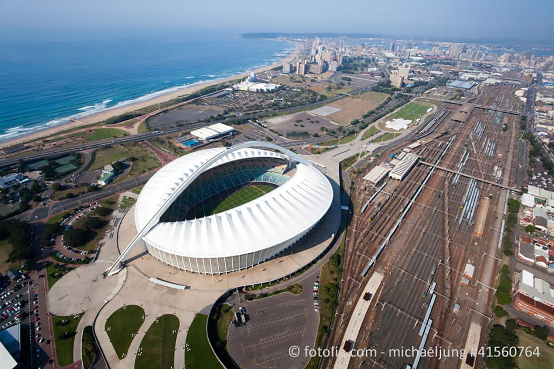 Moses Mabhida Stadium in Durban, South Africa. Stadium aerial photography.