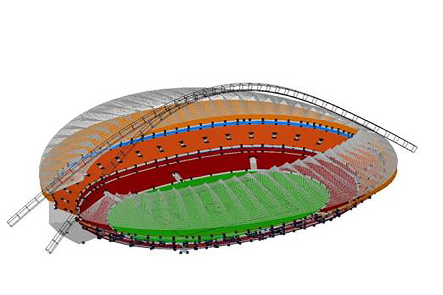 Moses Mabhida Stadium in Durban, South Africa. Acoustic 3D Model.