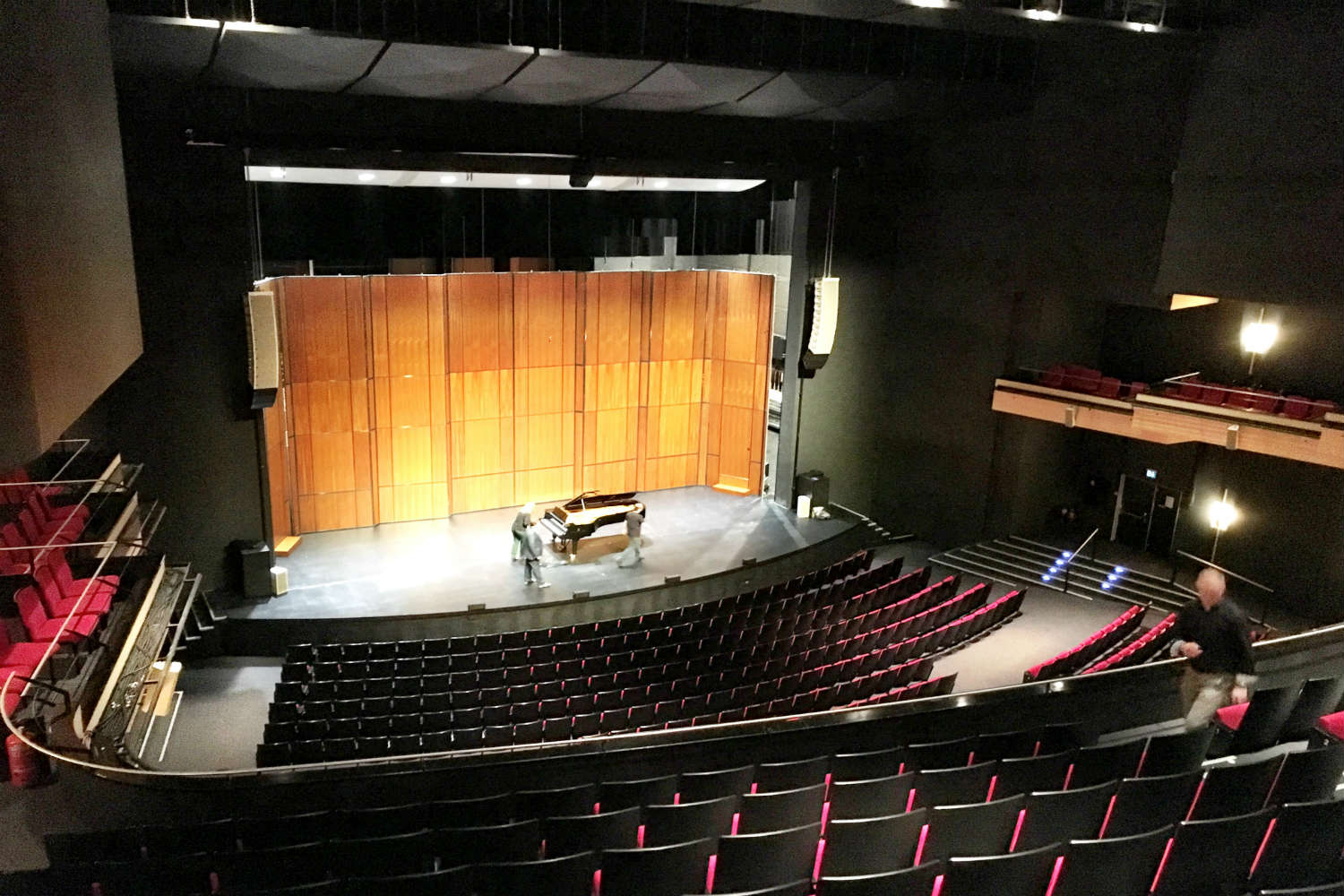 Musical Theater Basel in Basel, Switzerland. Acousting consulting and treatment by WSDG in Europe. Main wooden shell on stage