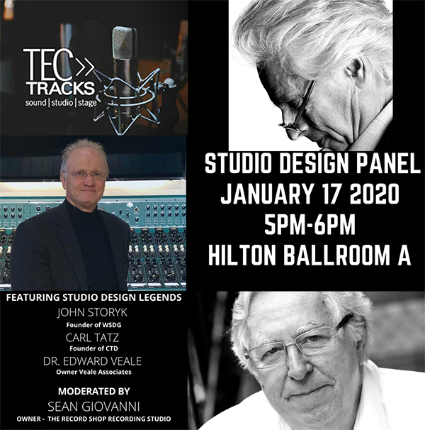 John Storyk, Founder WSDG, to join Studio Design Panel at NAMM 2020. Panel will hapen on Friday January 17th at 5pm. Recording Studio Design, Architecture and Acoustics.