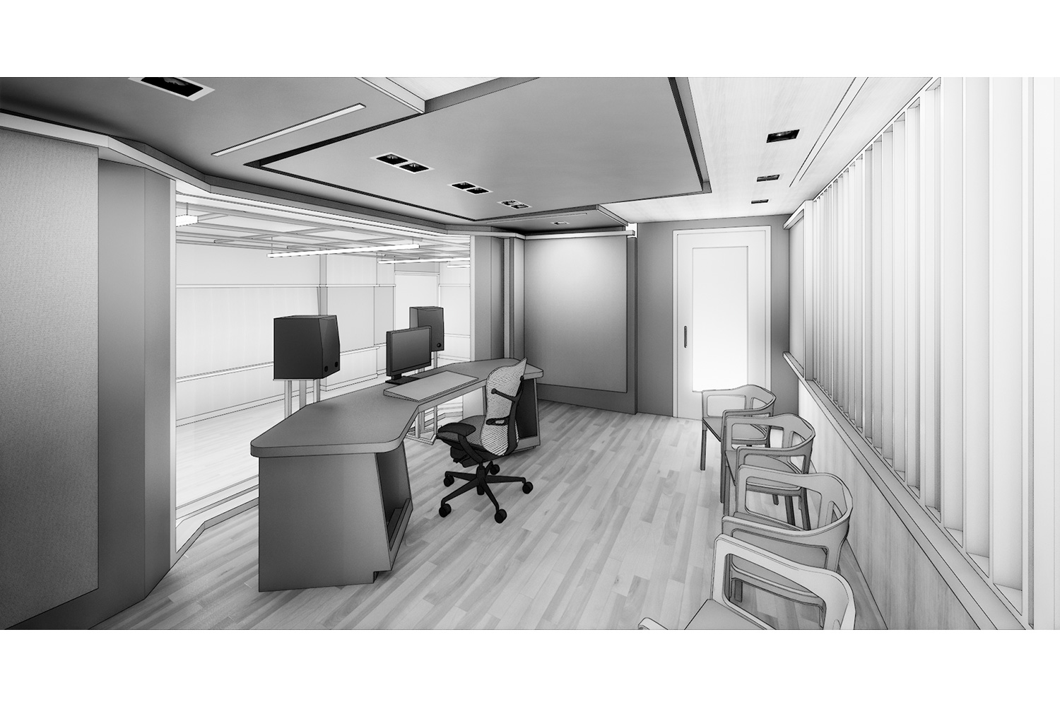 WSDG was engaged to design three key elements for th NYU Jay Street sustainable technology Center. Immersive audio lab, garage media and motion capture lab. Render Control Room.
