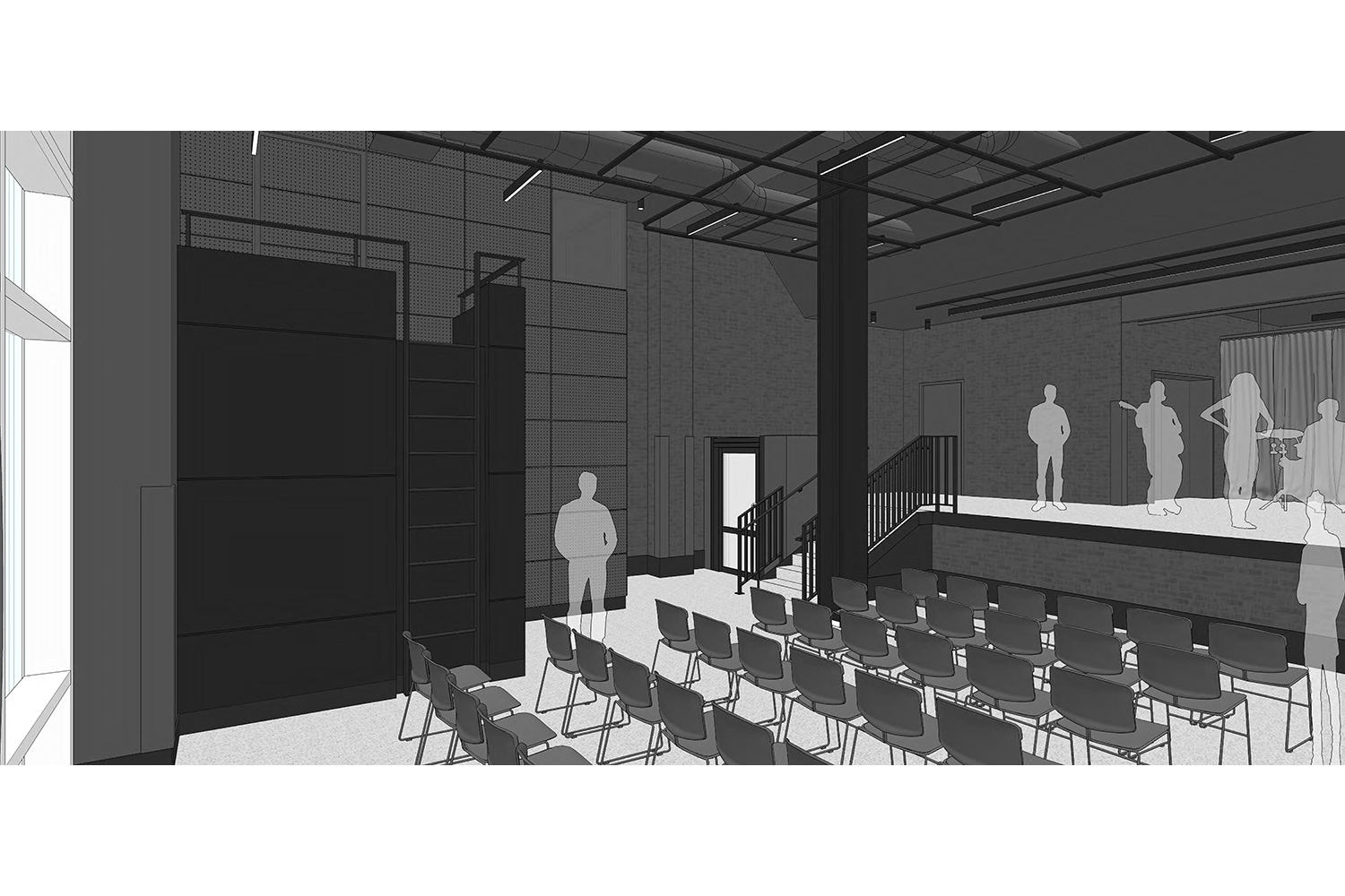 WSDG was engaged to design three key elements for th NYU Jay Street sustainable technology Center. Immersive audio lab, garage media and motion capture lab. Garage common render.