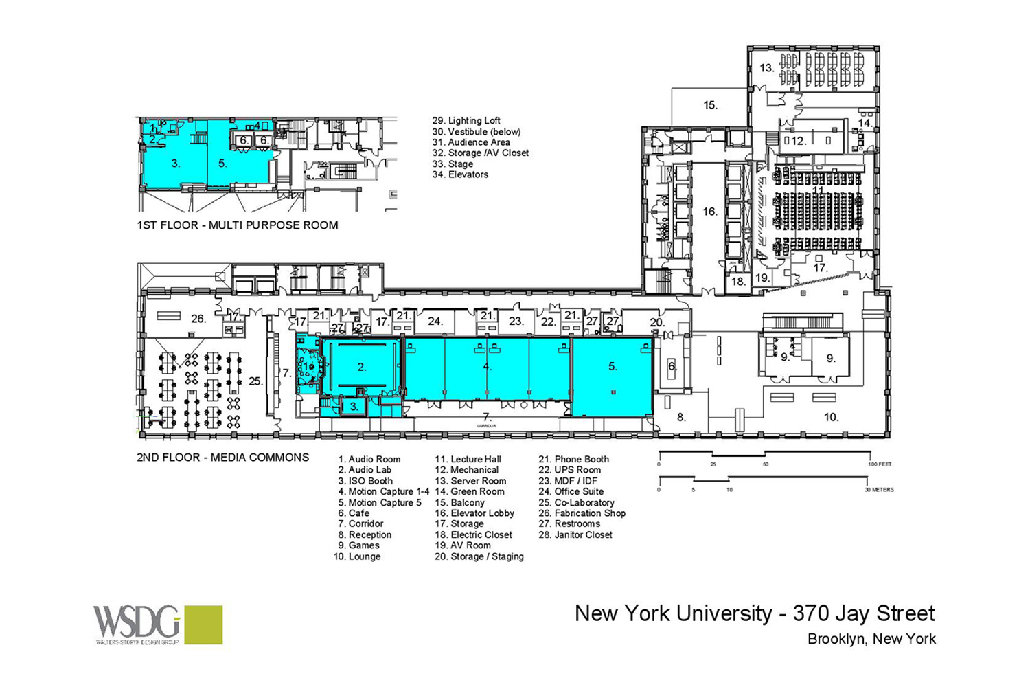 WSDG was engaged to design three key elements for th NYU Jay Street sustainable technology Center. Immersive audio lab, garage media and motion capture lab. Presentation drawing 1.