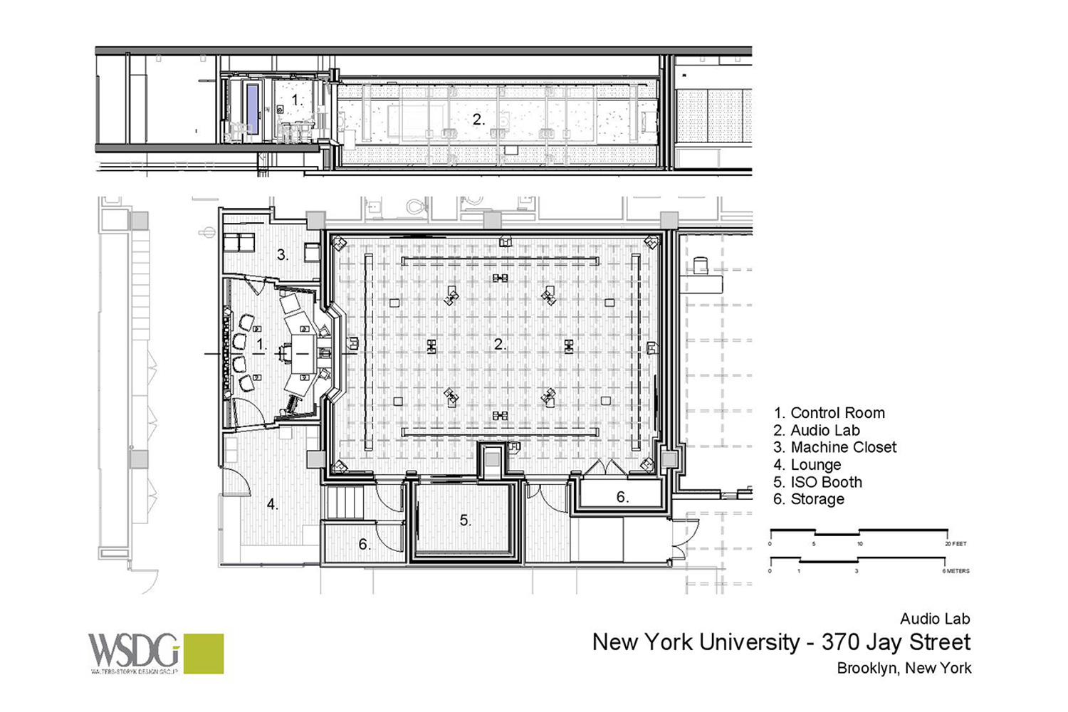 WSDG was engaged to design three key elements for th NYU Jay Street sustainable technology Center. Immersive audio lab, garage media and motion capture lab. Presentation drawing 3.