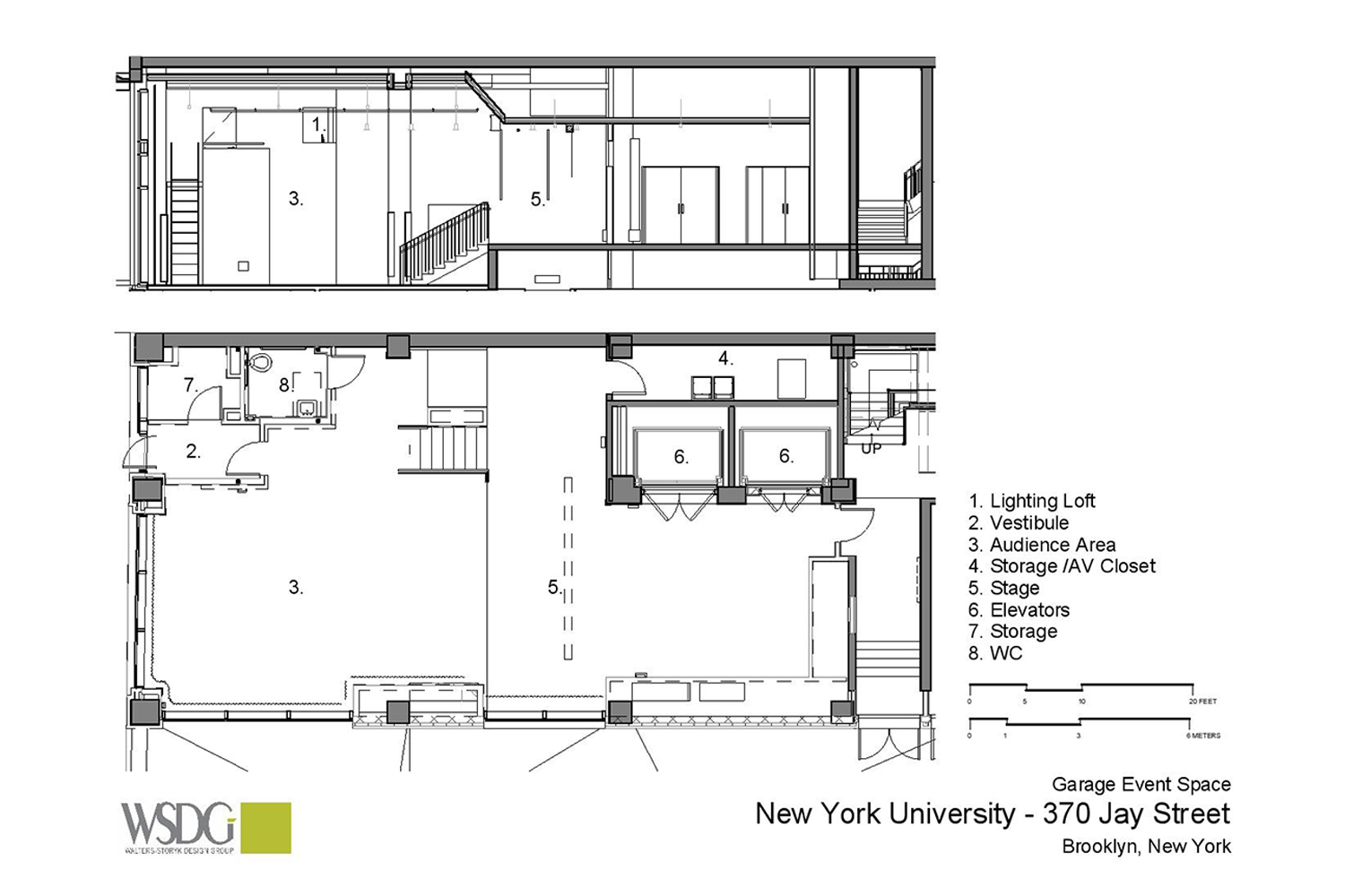 WSDG was engaged to design three key elements for th NYU Jay Street sustainable technology Center. Immersive audio lab, garage media and motion capture lab. Presentation drawing 4.
