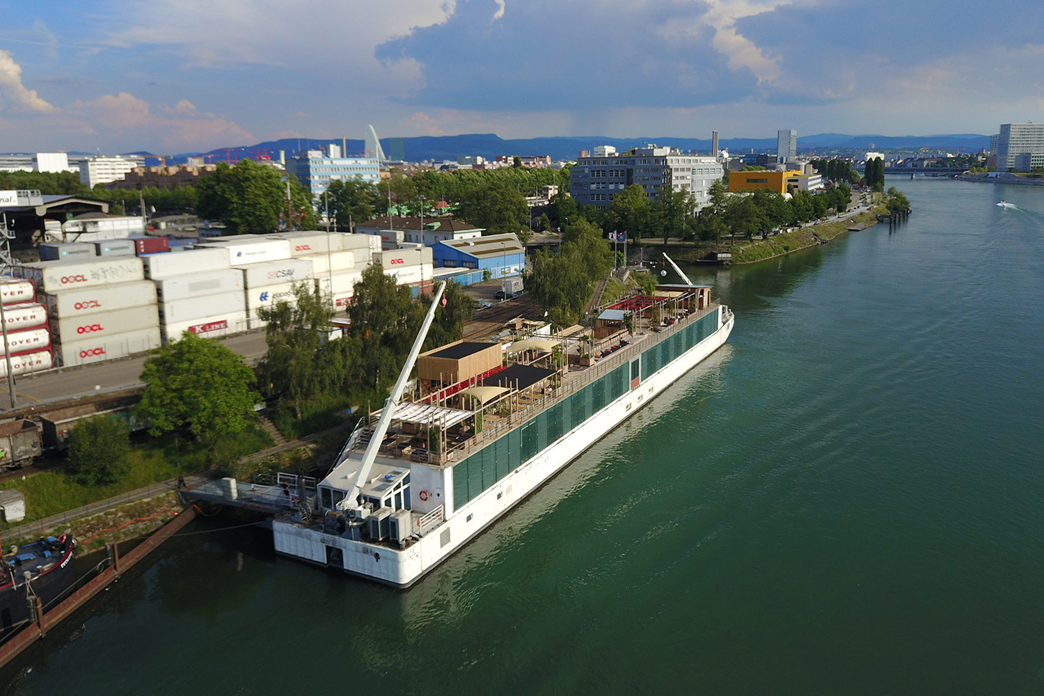 WSDG was in charge of the famous EDM nightclub Nordstern in Basel, Switzerland sound isolation, acoustics, and audio design inside the nightclub. Exterior boat on Rhine River.