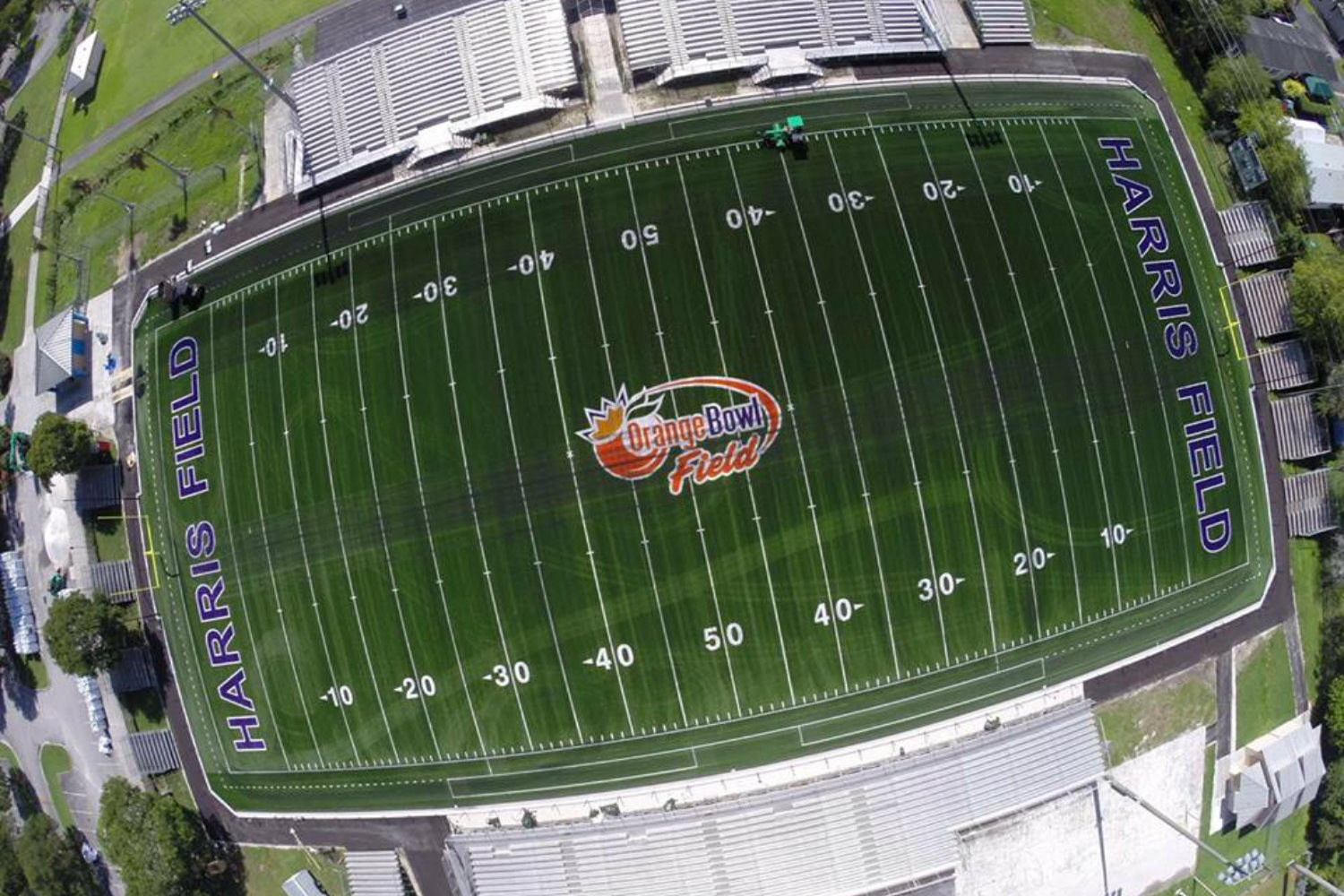 The Orange Bowl Field at Harris Field Park is the Orange Bowl's fourth Legacy Gift to the South Florida community. WSDG was reached by Groovyland Corp to design the sound system design and systems integration for the field's rejuvenation. Aerial drone photo.