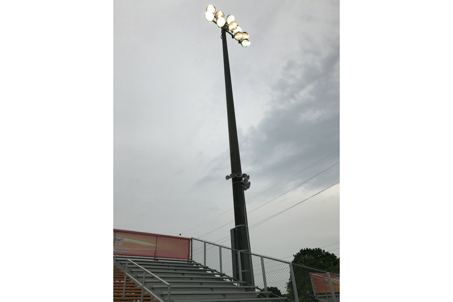 The Orange Bowl Field at Harris Field Park is the Orange Bowl's fourth Legacy Gift to the South Florida community. WSDG was reached by Groovyland Corp to design the sound system design and systems integration for the field's rejuvenation. Speakers at pole.