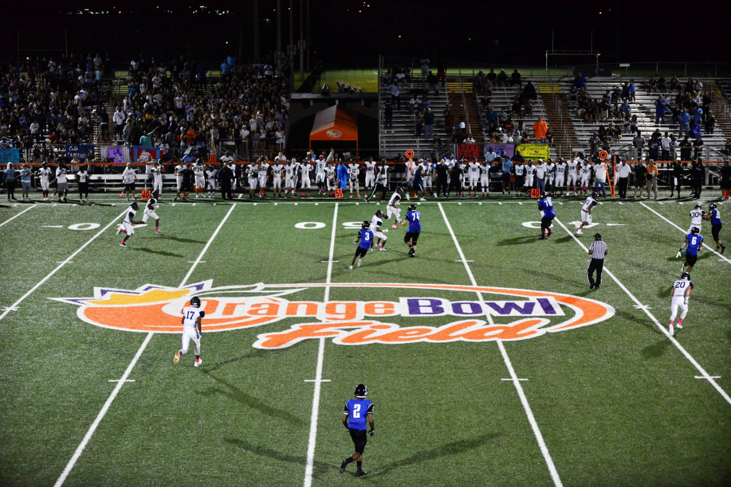 The Orange Bowl Field at Harris Field Park is the Orange Bowl's fourth Legacy Gift to the South Florida community. WSDG was reached by Groovyland Corp to design the sound system design and systems integration for the field's rejuvenation. Opening game at night.