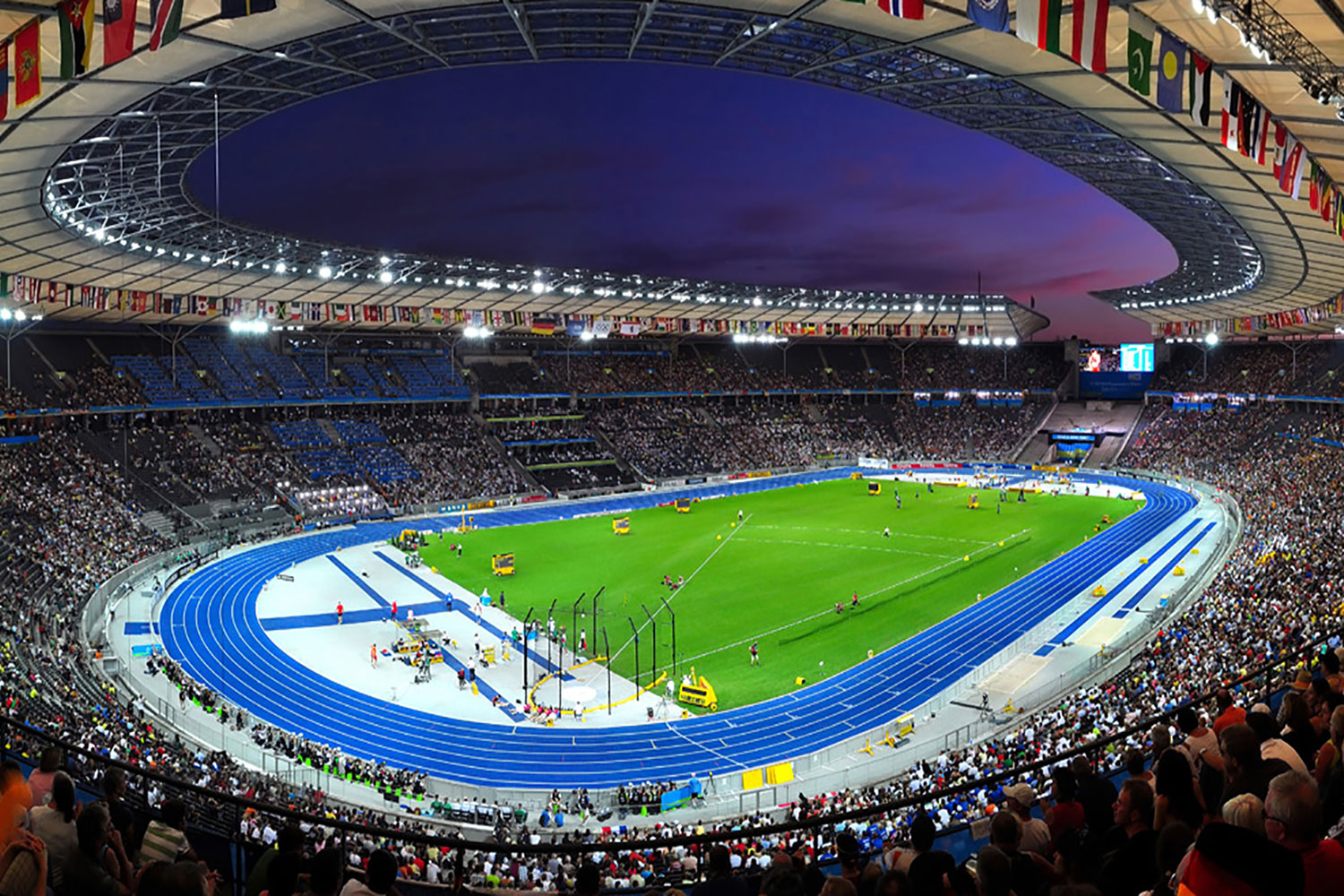 The Olympia Stadium Berlin is a Olympic and FIFA Germany 2006 World Cup Stadium, with a capacity of more than 70000 people. Extensive simulation calculations using the computer model were the core of work of ADA-AMC - WSDG. Football match.