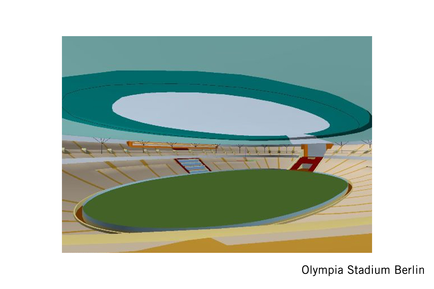 The Olympia Stadium Berlin is a Olympic and FIFA Germany 2006 World Cup Stadium, with a capacity of more than 70000 people. Extensive simulation calculations using the computer model were the core of work of ADA-AMC - WSDG. 3D model.