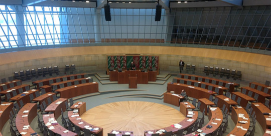 Parliament Hall Landtag in Dusseldorf, Germany. ACA-AMC, a WSDG company, in charge of the room acoustics and electro-acoustical systems. Hall