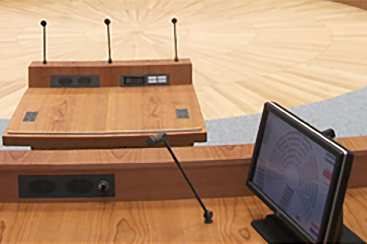 Parliament Hall Landtag in Dusseldorf, Germany. ACA-AMC, a WSDG company, in charge of the room acoustics and electro-acoustical systems. Electro-acoustics