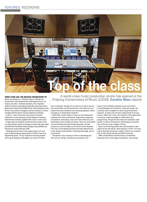 Zhejiang Conservatory of Music (ZJCM) featured on March-April 2019 edition of ProAVL Asia Magazine. Desgined by WSDG, ZJCM is one of the best educational recording studios in the world, featuring a scoring world-class live room.