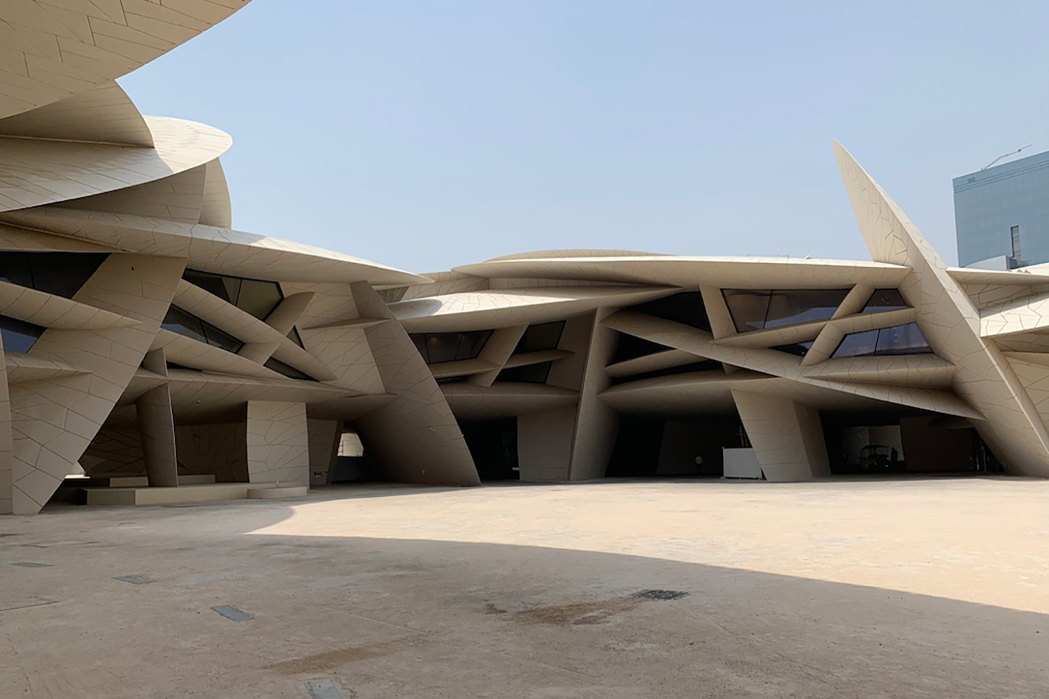 The National Museum of Qatar. WSDG was contracted to create a 3-D acoustic model of the space and make recommendations regarding appropriate speaker usage and placement. Façade.