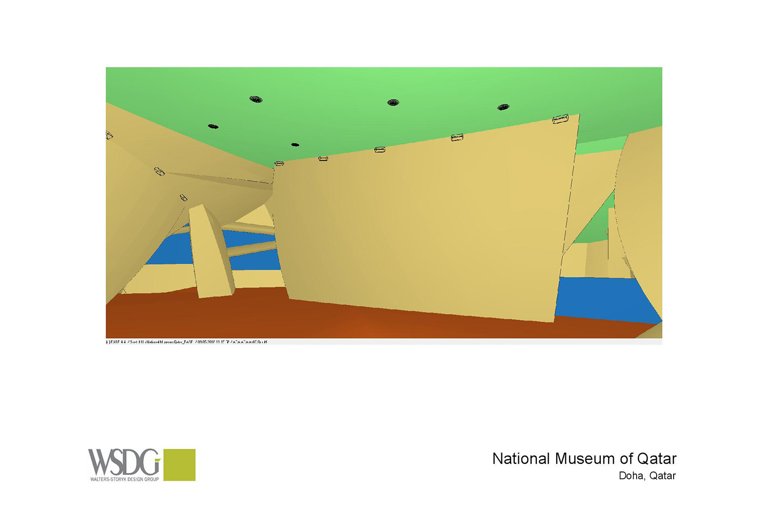 The National Museum of Qatar. WSDG was contracted to create a 3-D acoustic model of the space and make recommendations regarding appropriate speaker usage and placement. Acoustic 3D Model Drawing 2.