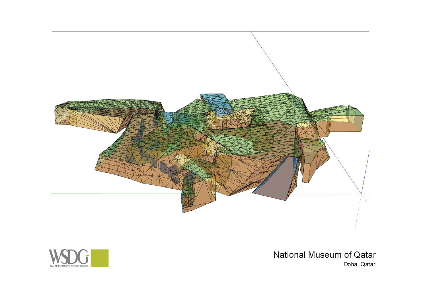 The National Museum of Qatar. WSDG was contracted to create a 3-D acoustic model of the space and make recommendations regarding appropriate speaker usage and placement. Acoustic 3D Model Drawing 3.