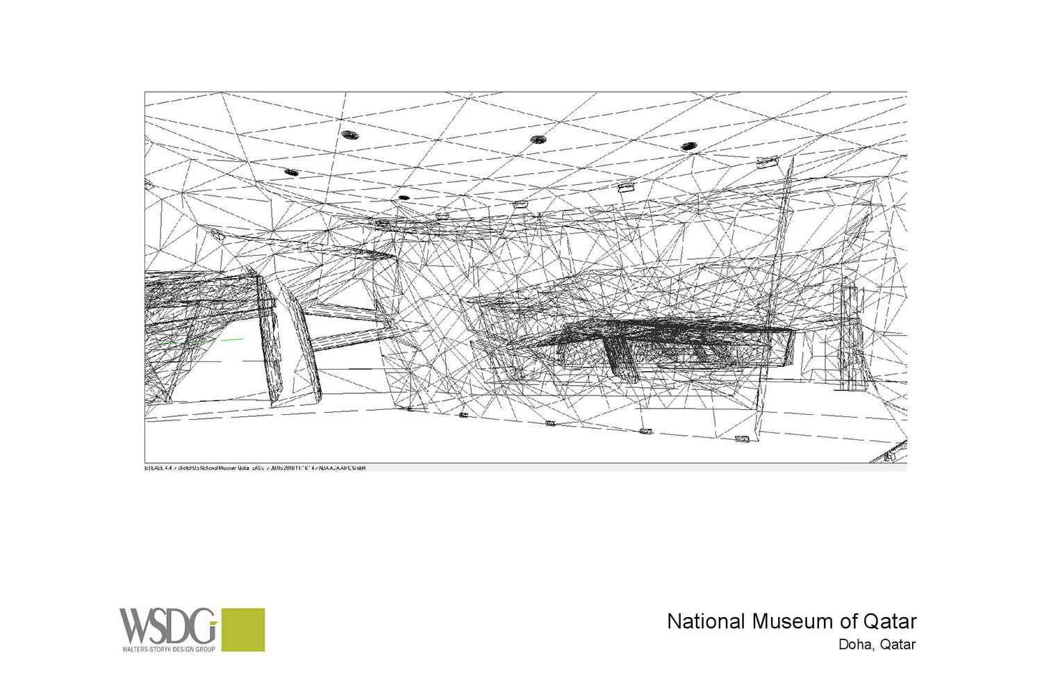 The National Museum of Qatar. WSDG was contracted to create a 3-D acoustic model of the space and make recommendations regarding appropriate speaker usage and placement. Acoustic 3D Model Drawing 4.