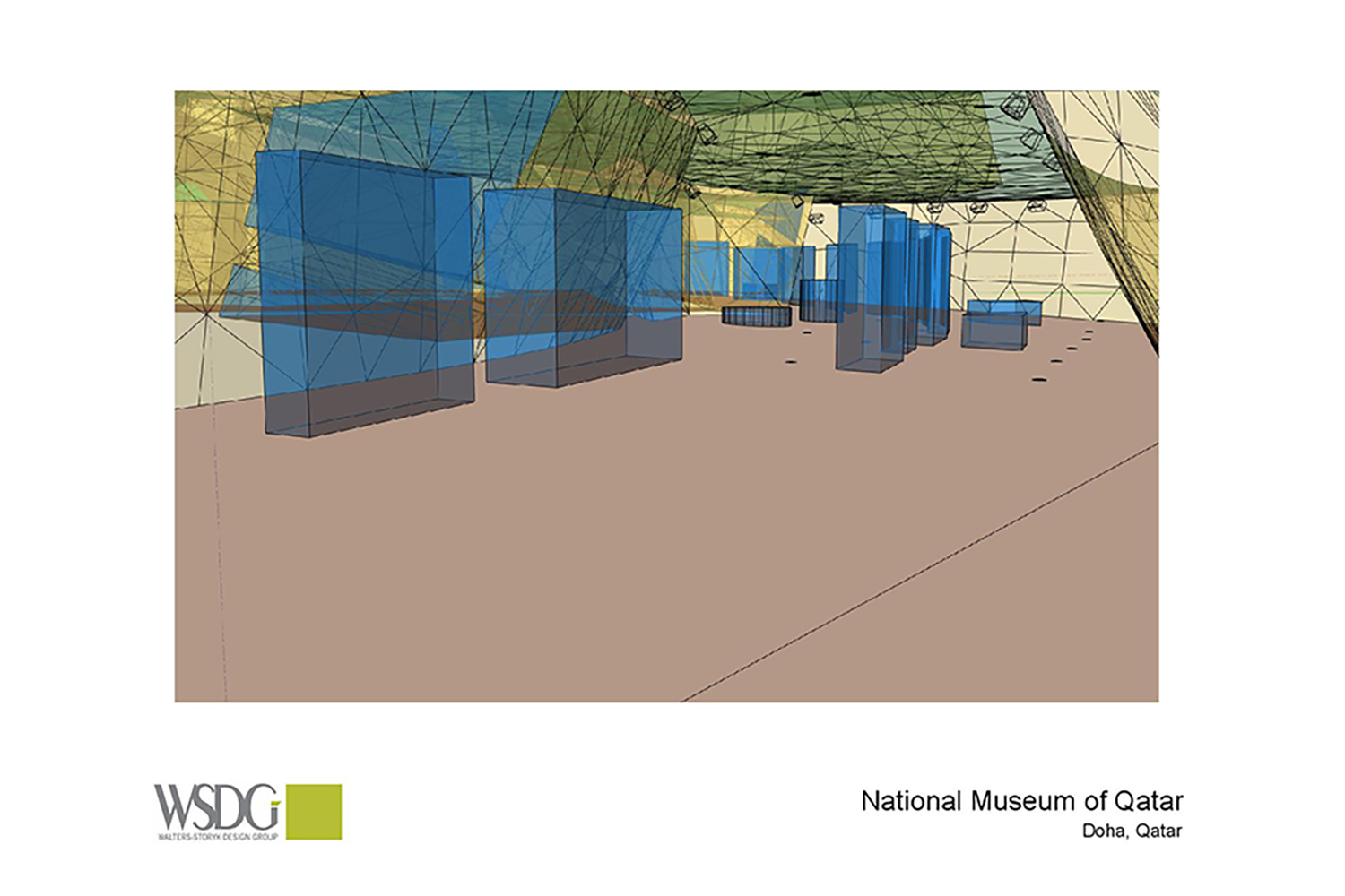 The National Museum of Qatar. WSDG was contracted to create a 3-D acoustic model of the space and make recommendations regarding appropriate speaker usage and placement. Acoustic 3D Model Drawing 1.