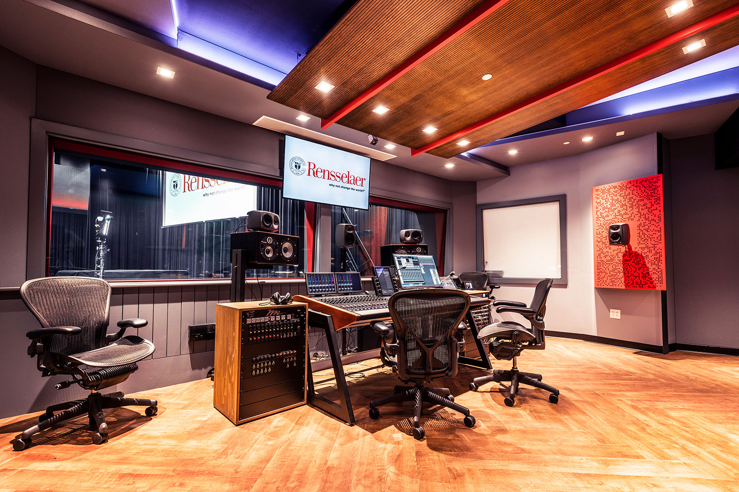 Rensselaer Polytechnic Institute (RPI) brand new state-of-the-art audio production facilities, designed by WSDG - Main Control Room side view.