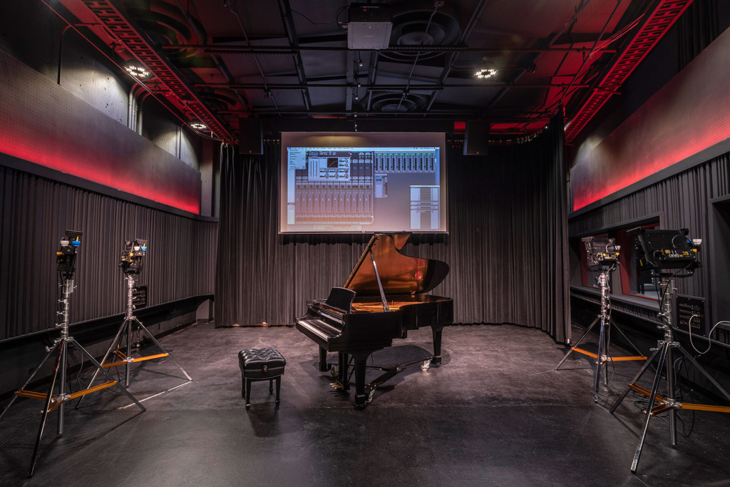 Rensselaer Polytechnic Institute (RPI) brand new state-of-the-art audio production facilities, designed by WSDG - Live Room featuring Grand Piano and Film Scoring Screen.
