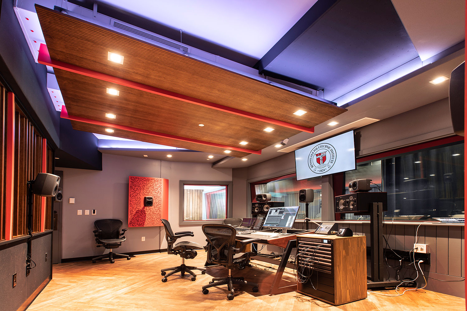 Rensselaer Polytechnic Institute (RPI) brand new state-of-the-art audio production facilities, designed by WSDG - Main Control Room from the lower side