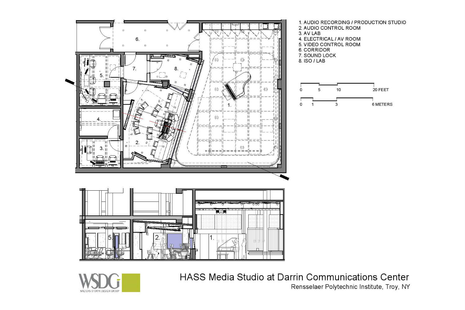 Rensselaer Polytechnic Institute (RPI) brand new state-of-the-art audio production facilities, designed by WSDG - Presentation Drawings 2