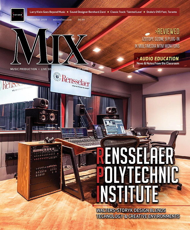 Rensselaer Polytechnic Institute (RPI) brand new state-of-the-art audio production facilities, designed by WSDG. Mix Magazine November 2019 Cover.