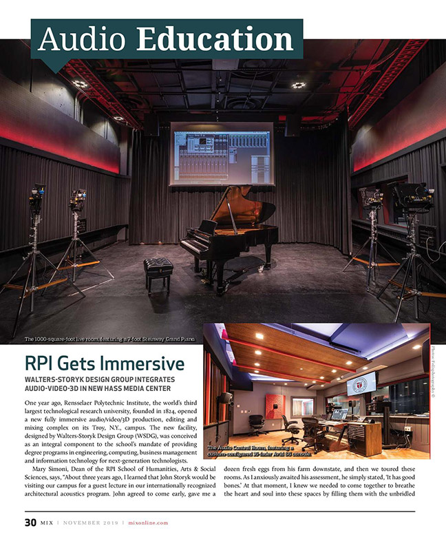 Rensselaer Polytechnic Institute (RPI) brand new state-of-the-art audio production facilities, designed by WSDG - Mix Magazine Cover November 2019 - Page 5.