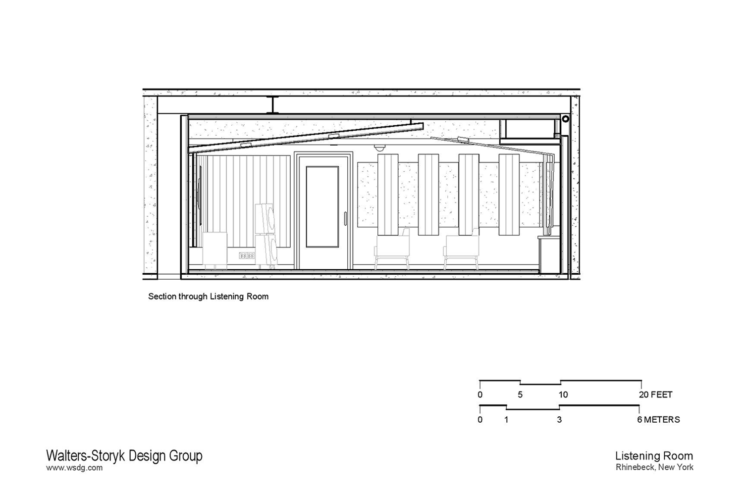 Luxury minimalistic audiophile listening room in a private residence in upstate New York. Acoustic isolation and A/V Systems design by WSDG. Drawing section.