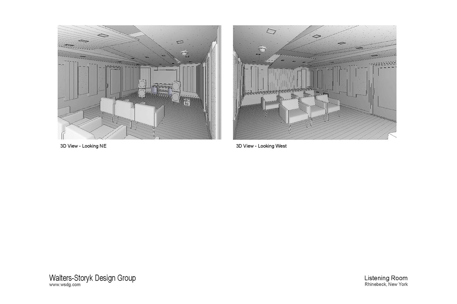 Luxury minimalistic audiophile listening room in a private residence in upstate New York. Acoustic isolation and A/V Systems design by WSDG. Renders.