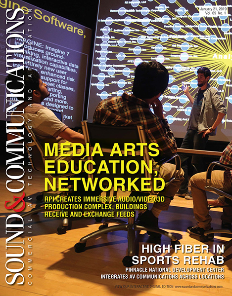 WSDG-designed RPI's brand new immersive audio/video/3d production complex featured on the cover of Sound & Communications February 2019 Issue.