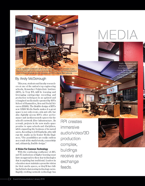 WSDG-designed RPI's brand new immersive audio/video/3d production complex featured on the cover of Sound & Communications February 2019 Issue. Page 2.
