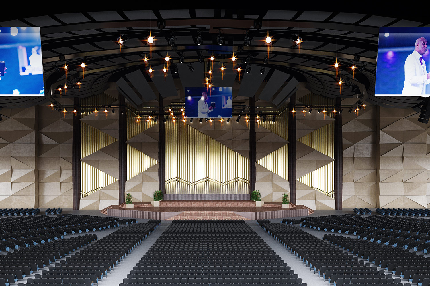 """Bishop David Oyedepo Salvation Ministries """"Hand of God"""". WSDG brought to supervise the acoustic design and design professional audio and video production facilities for the worship center. Main Auditorium Render."""