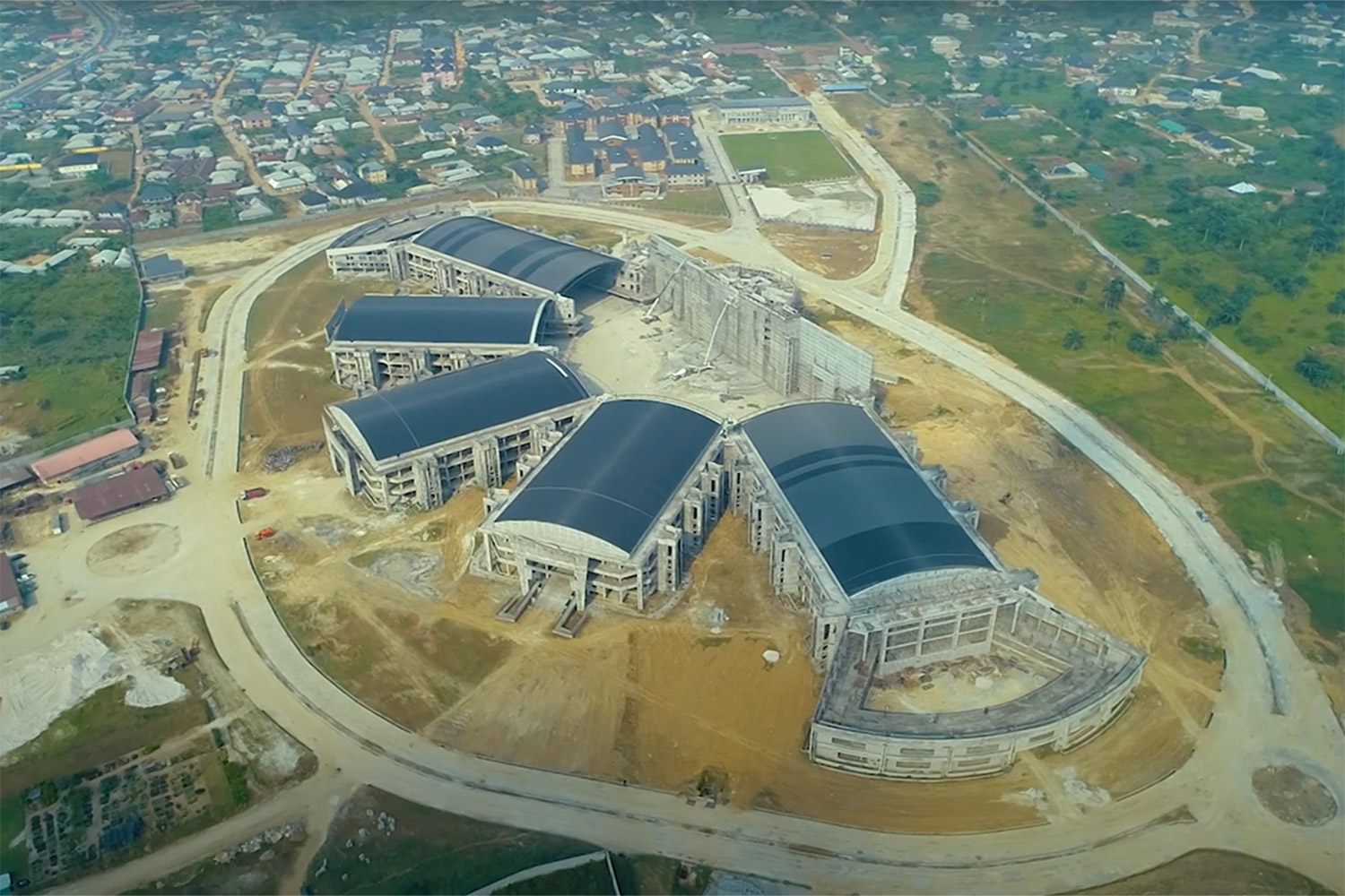 "Bishop David Oyedepo Salvation Ministries ""Hand of God"". WSDG brought to supervise the acoustic design and design professional audio and video production facilities for the worship center. Aerial view 2."