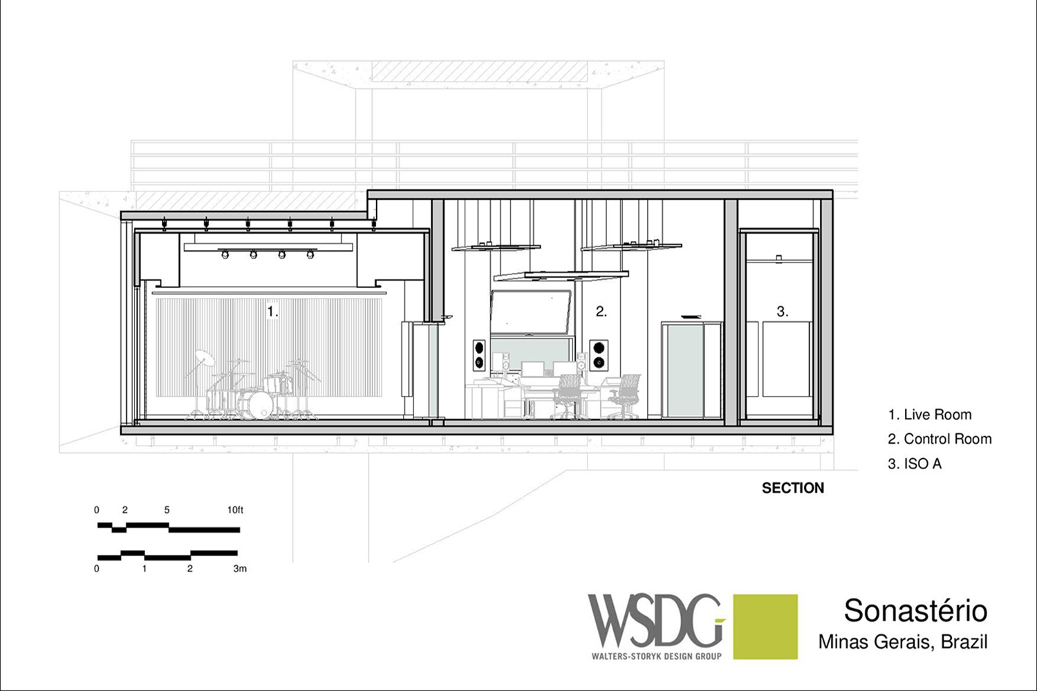 Sonastério Studios is a work of art in itself. More than just a studio, it is a house of creation designed to enhance the natural expressiveness of each artist. A collaboration of João Diniz Arquitetura office and WSDG, one of the world's leading acoustic architectural design firms. Presentation Drawing 1