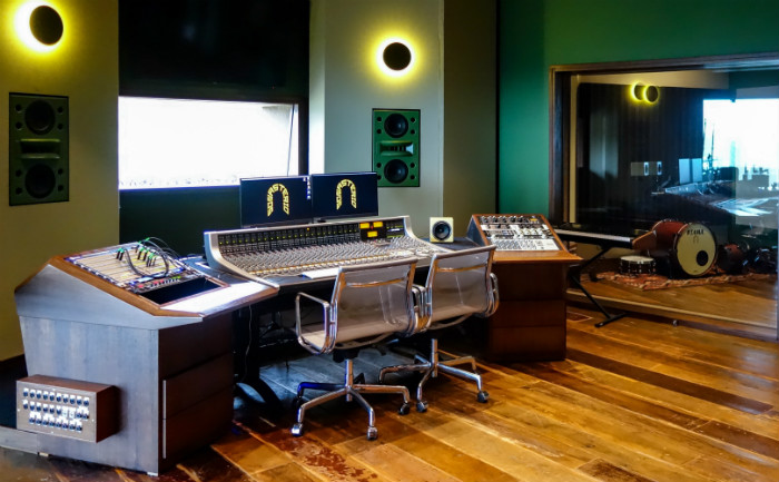 WSDG-designed Sonastério studio in Belo Horizonte, Brazil. Is a brand new SSL equipped recording studio, sitting at the mountains with brand new gear and fantastic acoustics. Control Room view.