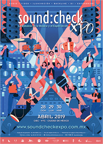 Soundcheck Xpo 2019 in Ciudad de Mexico, Mexico. Official flyer. Lecture presented by Sergio Molho, Partner & Director of Business Development, WSDG.