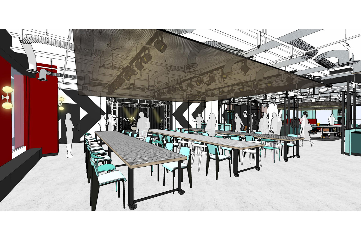"Spotify retained WSDG to design a streaming/ business management facility outfitted with user-friendly, ""dual command"" technology and Spotify Hall, a black box showcase/dining venue. Render 1."